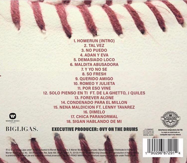 Canciones incluidas en el álbum 'HomeRun' de Paulo Londra. Vía Instagram: @BigLigas