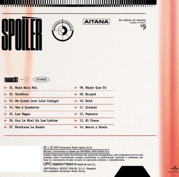 Canciones incluidas en 'Spoiler', que une ambos EP formando un disco único. Vía Instagram: @aitanax