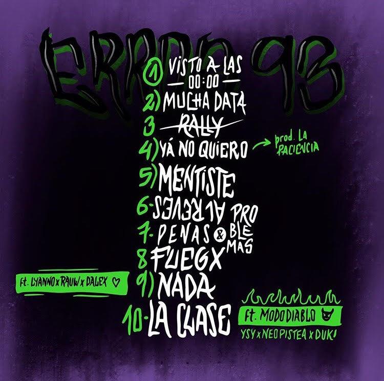 Contraportada del álbum 'Error 93' de Cazzu. Vía Instagram: @cazzu